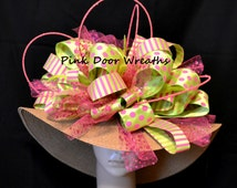 Derby Hat Local Louisville Ready to Ship KENTUCKY DERBY Preakness Oaks Horse racing Customized bow big ribbon fuschia pink lime green