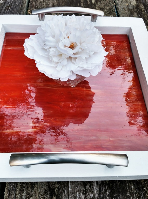 Serving Tray Wood Red Art Glass Brushed Nickel