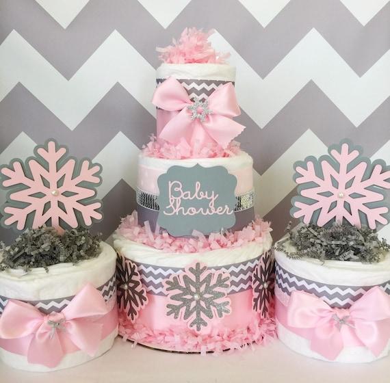 Chevron winter wonderland diaper cakes baby