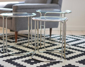 Set of Three Mid Century Glass and Chrome Nesting Tables