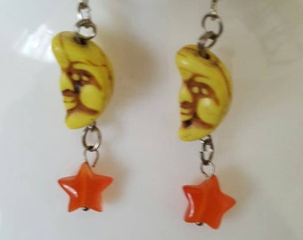 Moon and the stars earrings