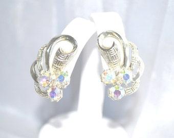 Vintage Earrings 1960s Era Aurora Borealis Rhinestones in Gold Tone