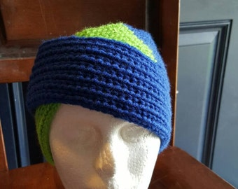 Knit split headwrap (royal/spring green),  headwrap, ear warmer, winter headwrap