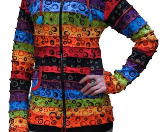 Pixie Hooded Bubble Printed Hippy Style Jacket,Hippie Clothes,Boho,Multicoloured