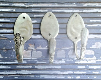Upcycled Spoon Coat Hooks...vintage spoons made into stylish hooks...vintage home decor..handstamped coat hooks..coats hooks...spoons