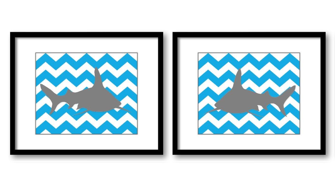 Sea Blue Grey Shark Nursery Art Nursery Print Set of 2 Sharks Child Art Prints Ocean Marine Animal B