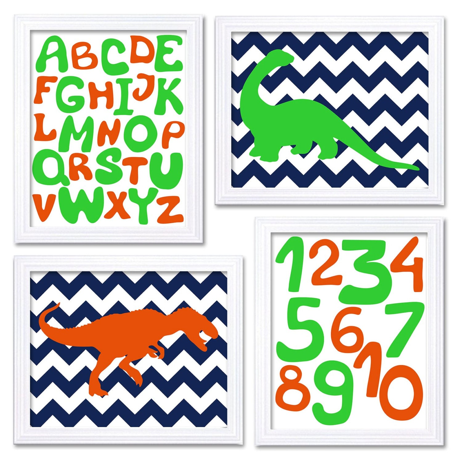 Dinosaurs Nursery Art Set of 4 Prints Navy Blue Orange Lime Green Chevron Tyrannosaurus Rex Brachios
