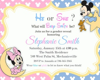 Mickey Minnie Gender Reveal Invitation - Printable or Printed with FREE SHIPPING