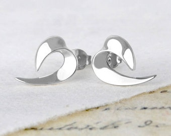 Curved Ribbon Stud Earrings, Sterling Silver Studs, Silver Earrings,  Flame Earrings, Studs, Minimal Earrings, Swirl Earrings, Earrings, 925