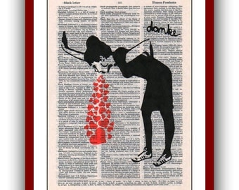 Lovesick Banksy Love Sick Poster 8 x  10 Urban Street Art Graffiti Girl Puking Hearts upcycled dictionary pages musical Notes Art Print
