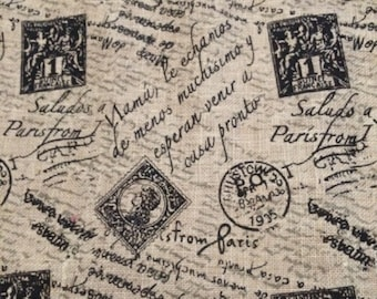 """91""""  Burlap Table Runner With French Postal Icons in Black"""