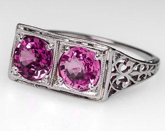Antique Engagement Ring - 1920's Art Deco Pink Sapphires - Toi Let Moi - Platinum Ring - WM8316