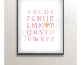 Pink / Orange Alphabet Print *DIGITAL DOWNLOAD* Wall Print 8 x 10 inches - I Love [ heart ] You