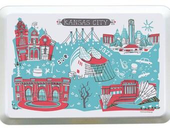 Kansas City Tray-City Tray-Melamine Tray-City Serving Tray-Red-Turquoise-Grey-Personalized-Custom-Any City Tray