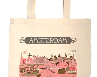 Amsterdam Tote Bag-City Tote-Any City Tote-Pink-Brown- Tote-Gray-Personalized-Custom Wedding Tote