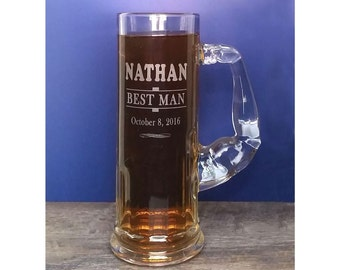 MUSCLE MUG Beer Mug, Arm Handle,  Engraved, Personalized, 1 Mug,  21 oz, Groom, Best Man, Groomsman Gift, Weight Lifting, Sports Award