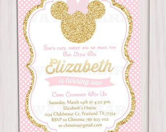 Pink and Gold Minnie Mouse Birthday Party Invitation, First, 1st Birthday, Gold Glitter, Polka Dot invite, Girl, Printable Invitation