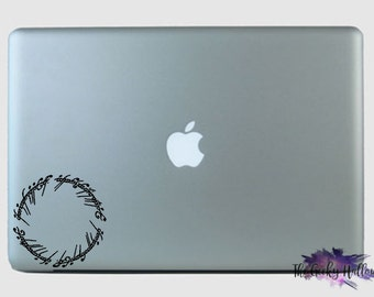 Lord of the Rings Elvish Ring Saying - THE ONE RING - Hobbit - Macbook - Laptop - Car Window - Vinyl - Decal - Sticker
