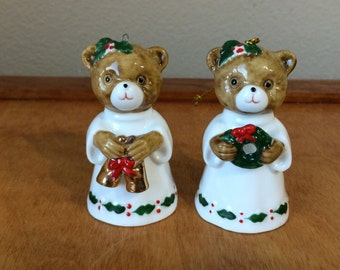 Two Mid Century Fine China Christmas Bear Bells - Tree Ornaments - Figurine