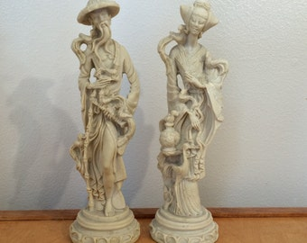 Tall Vintage Asian Man and Women Figurine - Resin Statue - Bird Lovers