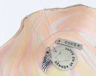 Always in my heart- in memory stamped necklace