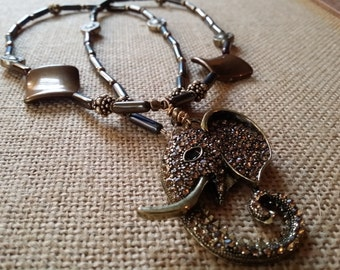 Bronzed Elephant Long Necklace