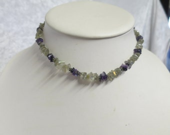 Beaded gemstone necklace using Labrodite and Amethyst beads  CCS114