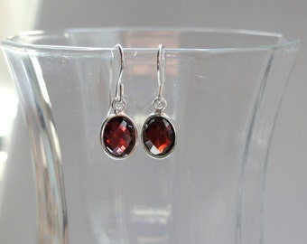 Garnet earrings, Sterling silver garnet earrings, Garnet jewellery, Garnet jewelry, January birthstone earrings, Bridal earrings