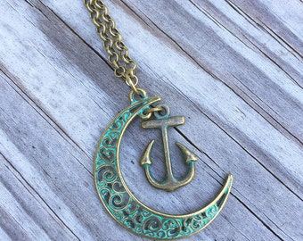 Moon Anchor Necklace/ Anchor Necklace/ Moon Necklace/ Anchor Moon Patina Necklace/ Bronze Blue Patina Crescent Moon/ Nautical