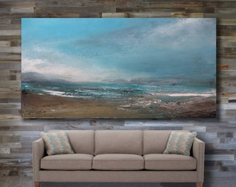 """80""""x44"""" ABSTRACT PAINTING,ORIGINAL, Landscape, Large painting, Acrylic on canvas"""