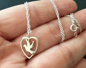 Peace Dove Charm Sterling Silver necklace - Dove Necklace,  Bird Pendant Necklace, Love necklace, bird necklace, nature necklace, chick