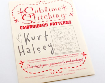 Embroidery Transfer - Sublime Stitching Artist Series - Kurt Halsey Birds and Stars - Iron On Transfer Embroidery Pattern Iron-on template