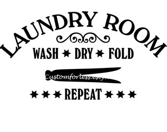 Laundry room wall decal , wall decor , vinyl decal , gift idea in your choice of colors
