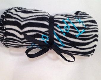 Delta Delta Delta Zebra Fleece Blanket