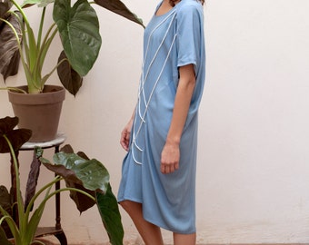30% off Blue casual summer dresses, party dresses for women,oversized dress, designer dress,knee length dress,short sleeve