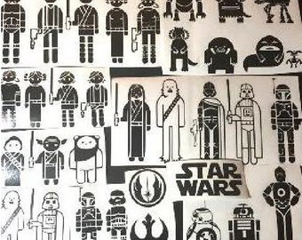 Custom Star Wars Stick Figure Family Vinyl Car Decals Free
