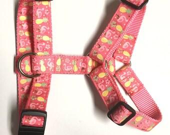 Flamingo and pineapple harness