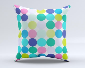 The Vibrant Colored Polka Dot V2 ink-Fuzed Decorative Throw Pillow