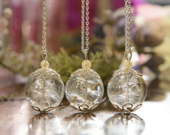 Bridesmaid Gift Set - Set of 3 hand blown glass pendants filled with delicate dandelion seeds
