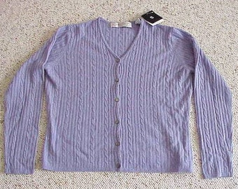 Valerie Stevens Lavender 100% Cashmere Cable Knit V Neck Cardigan Sweater Size Small