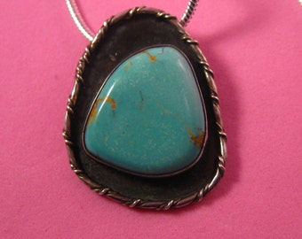 Pendant Vintage Large Slab Turquoise Native American Signed Sterling Silver Enchantment Turquoise Signed Gary 2/77 With Chain #A-3