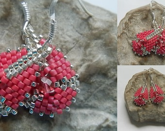 raspberry pink woven earrings and silver BO177