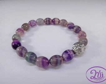 Elastic bracelet with fluorite stones and silver 925 women handmade