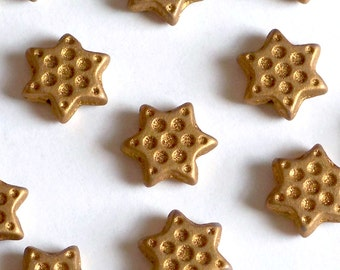 15mm Silk Gold Star Beads with Dimples, Czech Glass Beads, Czech 6pt Star, Czech Star Beads