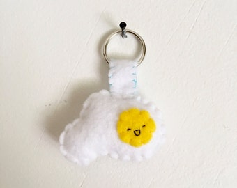 Handmade Sunny-Side Up Egg Felt Keychain