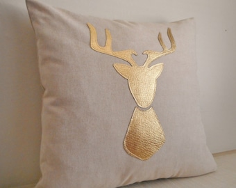 Deer Pillow /Linen cover / Metallic Gold Deer head / deer silhouette pillow / antler pillow / stag silhouette / metallic pillow case