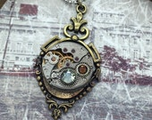 Steampunk watch necklace Handcrafted artistic jewelry -The Victorian Magpie