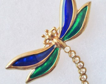 Enamel & Clear Rhinestone Gold DRAGONFLY Pin