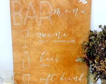 Wooden Sign // Bar Menu