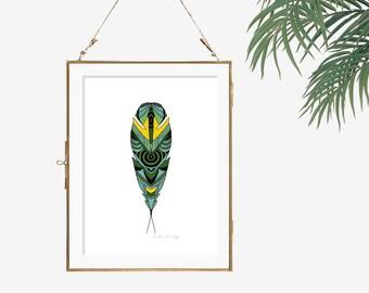 Bright yellow print tribal feather poster green room decor feather artwork bohemian art modern print feather wall art boho style art black